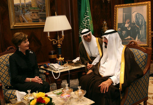 Mrs. Laura Bush meets with His Majesty King Abdullah Bin Abd al-Aziz Al Saud at the King's palace Oct. 23, 2007, in Jeddah, Saudi Arabia. Also pictured is Saudi Arabia's Ambassador to the United States Adel A. Al-Jubeir. White House photo by Shealah Craighead