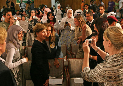Mrs. Laura Bush meets with students after speaking about the English Access Microscholarship Program at the Ministry of Education Training Facility in Kuwait City, Wednesday, Oct. 24, 2007. White House photo by Shealah Craighead