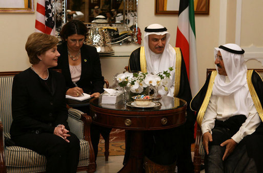 Mrs. Laura Bush meets with Amir Shaykh Sabah Al-Ahmed Al Jaber Al Sabah Wednesday, Oct. 24, 2007, in Kuwait City. White House photo by Shealah Craighead