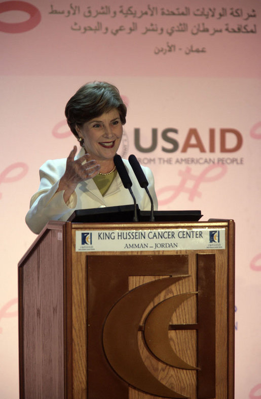 "Mrs. Laura Bush delivers remarks regarding the U.S.-Middle East Partnership Initiative for Breast Cancer Awareness and Research after touring the King Hussein Medical Center Thursday, Oct. 25, 2007, in Amman, Jordan. ""Over the next quarter-century, an estimated 25 million women around the world will be diagnosed with breast cancer,"" said Mrs. Bush. ""People from every country must share their knowledge, resources and experience, because this disease affects women in every country."" White House photo by Shealah Craighead"