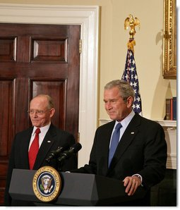 "President George W. Bush announces Dr. James Peake as his nomination for Secretary of Veterans Affairs in the Roosevelt Room Tuesday, Oct. 30, 2007. ""He will be the first physician and the first general to serve as Secretary,"" said the President. ""He will apply his decades of expertise in combat medicine and health care management to improve the veterans' health system. He will insist on the highest level of care for every American veteran.""  White House photo by Chris Greenberg"