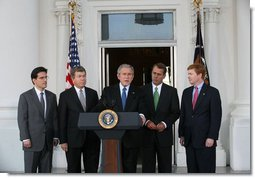 President George W. Bush addresses his remarks, Tuesday, October 30, 2007, on the North Portico steps of the White House after meeting with the House Republican Conference. Standing with the President are members of the House Republican leadership from left, Rep. Eric Cantor of Virginia., House Minority Whip Roy Blunt of Missouri, House Minority Leader John Boehner of Ohio and Rep. Adam Putnam of Florida. White House photo by Joyce N. Boghosian
