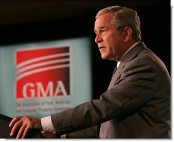 President George W. Bush delivers remarks at the 2007 Grocery Manufactures Association Fall Conference, Wednesday, Oct. 31, 2007, in Washington, D.C. White House photo by Chris Greenberg