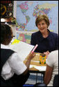 "Mrs. Laura Bush visits with students at the Good Shepherd Nativity Mission School, Thursday, Nov. 1, 2007 in New Orleans, a Helping America's Youth visit with Big Brother and Big Sisters of Southeast Louisiana. Mrs. Bush thanked the group saying,""We know that positive role models are essential to young people's success."" White House photo by Shealah Craighead"