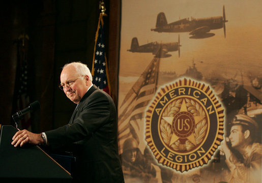 "Vice President Dick Cheney delivers remarks to the Indiana American Legion Thursday, Nov. 1, 2007 at the Indiana War Memorial in Indianapolis. ""In every generation, citizens of Indiana have stepped forward to serve America in times of peace and times of war,"" said the Vice President, who later added, ""The United States is decent, honorable and generous - and so are the people who wear its uniform.Every day they confront the violent, protect the weak, heal the sick, and bring hope to the oppressed."" White House photo by David Bohrer"
