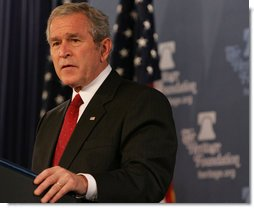 "President George W. Bush speaks at the Heritage Foundation Thursday, Nov. 1, 2007, in Washington, D.C. Speaking on the Global War on Terror, the President said, ""We're standing with those who yearn for liberty in the Middle East, because we know that when free societies take root in that part of the world, they will yield the peace we all desire."" White House photo by Chris Greenberg"