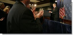 President George W. Bush acknowledges a standing ovation Thursday, Nov. 1, 2007, during his Remarks on the Global War on Terror to the Heritage Foundation in Washington, D.C. Founded in 1973, the Heritage Foundation is a think tank whose mission is to formulate and promote conservative public policies based on the principles of free enterprise, limited government, individual freedom, traditional American values, and a strong national defense. White House photo by Chris Greenberg