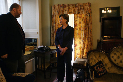 Mrs. Laura Bush listens as Russell Caldwell, manager of visitor services, conducts a tour of the Margaret Mitchell House and Museum, Thursday, Nov. 1, 2007 in Atlanta, Ga. It was in this house that Mitchell wrote the novel, Gone with the Wind. White House photo by Shealah Craighead