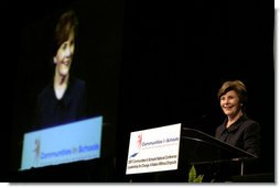 Mrs. Laura Bush delivers remarks to the 2007 Communities In Schools National Conference Thursday, Nov. 1, 2007, in Atlanta. Communities In Schools is the largest dropout prevention organization in the United States and has helped children stay in school for over 30 years. White House photo by Shealah Craighead