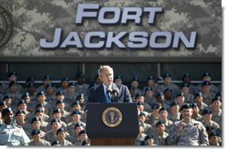 "President George W. Bush addresses the Basic Combat Training graduates at Fort Jackson in Columbia, S.C., Friday, Nov. 2, 2007. The President told the graduates, "".Our nation calls on brave Americans to confront our enemies and bring peace and security to millions -- and you're answering that call. I thank you for your courage. I thank you for making the noble decision to put on the uniform and to defend the United States of America."" White House photo by Eric Draper"