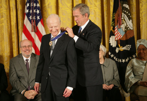 "President George W. Bush awards the Presidential Medal of Freedom to economist and Nobel Laureate Gary S. Becker Monday, Nov. 5, 2007, in the East Room. ""His pioneering analysis of the interaction between economics and such diverse topics as education, demography, and family organization has earned him worldwide respect and a Nobel Prize,"" said the President. White House photo by Eric Draper"