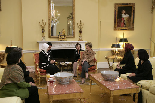 Mrs. Laura Bush hosts a tea for Mrs. Emine Erdogan, wife of Prime Minister Recep Tayyip Erdogan of Turkey, Monday, Nov. 5, 2007, in the Yellow Oval Room within the private residence of the White House. White House photo by Shealah Craighead