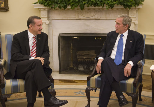 President George W. Bush meets with Prime Minister Recep Tayyip Erdogan of Turkey Monday, Nov. 5, 2007, in the Oval Office. White House photo by Joyce N. Boghosian
