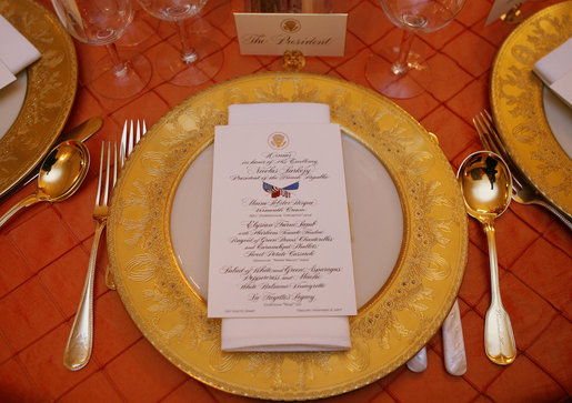 The dinner setting for President George W. Bush is seen Tuesday, Nov. 6, 2007, in the State Dining Room of the White House for the dinner in honor of French President Nicolas Sarkozy. White House photo by Shealah Craighead