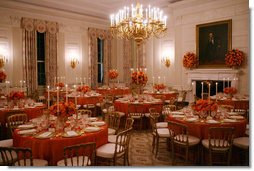 Decorated candlelit tables are seen in the State Dining Room of the White House Tuesday, Nov. 6, 2007, for the dinner in honor of French President Nicolas Sarkozy. White House photo by Shealah Craighead