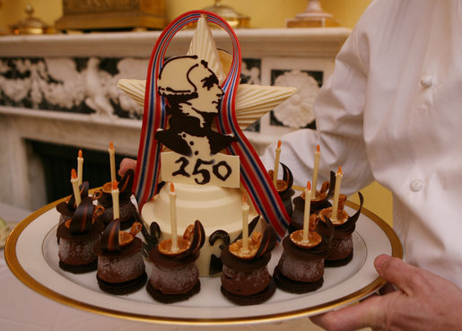 "A ""Lafayette"" cake dessert is served to guests Tuesday evening, Nov. 6, 2007, during the White House dinner in honor of French President Nicolas Sarkozy. The cake honors the 250th anniversary of the birth of French soldier and statesman the Marquis de Lafayette, who was pivitol in America's war for independence. White House photo by Shealah Craighead"