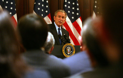 President George W. Bush delivers remarks at the White House Forum on International Trade and Investment Tuesday, Nov. 6, 2007, in the Dwight D. Eisenhower Executive Office Building in Washington, D.C. White House photo by Joyce N. Boghosian