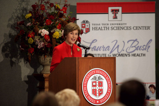 "Mrs. Laura Bush delivers remarks during the naming ceremony for the Laura W. Bush Institute for Women's Health Wednesday, Nov. 7, 2007, in Amarillo, Texas. ""You're committed to reaching West Texas populations that may not have had access to health care -- like minorities, immigrants, low-income and rural patients, and the elderly,"" said Mrs. Bush. ""You're encouraging the next generation of doctors and scientists to devote their talents to women's health."" White House photo by Shealah Craighead"