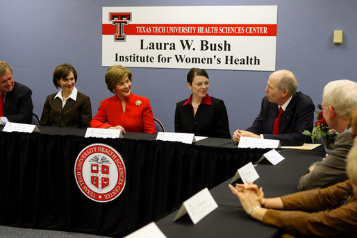 Mrs. Laura Bush listens to Chancellor Kent Hance during a roundtable discussion with members of Texas Tech University, TTU Health and Science Center, and the Laura W. Bush Institute for Women's Health Wednesday, Nov. 7, 2007, in Amarillo, Texas. Mrs. Bush is sitting with, from left, Dr. John Baldwin, Erin Thurston, and Dr. Marjorie Jenkins. White House photo by Shealah Craighead