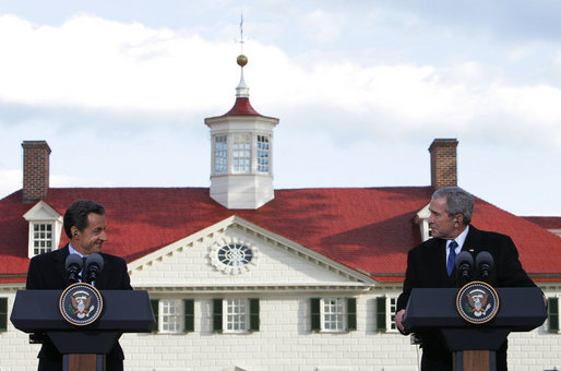 With Mount Vernon as a backdrop, President George W. Bush and President Nicolas Sarkozy of France participate in a joint press availability Wednesday, Nov. 7, 2007. The visit to the Virginia home of George Washington capped a two-day visit by the French leader to the nation's capital. White House photo by Chris Greenberg
