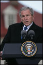 "President George W. Bush responds to a question Wednesday, Nov. 7, 2007, during a joint press availability with President Nicolas Sarkozy of France at Mount Vernon. Said the President, ""I can't thank the President enough for his willingness to stand with young democracies as they struggle against extremists and radicals.France's voice is important and it's clear that the human rights of every individual are important to the world."" White House photo by Chris Greenberg"