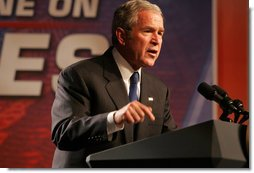 "President George W. Bush delivers remarks on the Budget Tuesday, Nov. 13, 2007, during an appearance at the Grand in New Albany, Indiana. The President told his audience, ""We don't need to raise the taxes on the working people; we don't need to raise the taxes on our farmers and ranchers; we don't need to raise taxes on the small business owners. What we need to do is set clear priorities with the people's money -- which is defend this homeland, support our troops, and make sure we reduce the deficit, and keep this economy growing strong."" White House photo by Chris Greenberg"