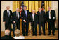 President George W. Bush presents the 2007 National Humanities Medal for the Monuments Men Foundation for the Preservation of Art to, from left, Robert Edsel and World War II veterans Jim Reeds, Harry Ettlinger, Horace Apgar and Seymore Pomrenze. White House photo by Eric Draper