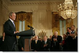 "President George W. Bush speaks during the presentation of the 2007 National Medal of the Arts and Humanities Thursday, Nov. 15, 2007, in the East Room. ""Your accomplishments remind us that freedom of thought and freedom of expression are two pillars of our democracy,"" said President Bush. White House photo by Shealah Craighead"
