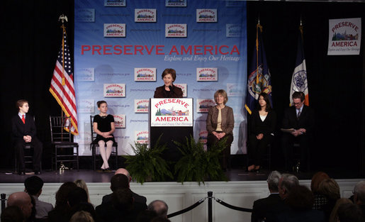 Mrs. Laura Bush addresses her remarks at the 2007 Preserve America National History Teacher of the Year Award at the Museum of the City of New York, Friday, Nov. 16, 2007 in New York, where Mrs. Bush honored fifth grade history teacher Maureen Festi, who teaches at Stafford Elementary School in Stafford, Conn., with the award. White House photo by Shealah Craighead