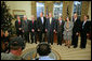 President George W. Bush meets with the 2007 Nobel Award recipients in the Oval Office Monday, Nov. 26, 2007. They are, from left: Harlan Watson, Oliver Smithies, Mario Capecchi, former Vice President Al Gore, Eric Maskin, Susan Solomon, Roger Myerson and Sharon Hays. White House photo by Eric Draper