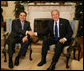 "President George W. Bush and President Elias Antonio Saca meet with the media Thursday, Nov. 29, 2007, during the El Salvadoran President's visit to the White House. President Bush told his fellow leader, ""I want to thank the people of El Salvador for being such strong supporters in the war against extremists and radicals. I appreciate the sacrifice of your troops, Mr. President, and their families, as we work jointly to help others realize the blessings of liberty and freedom, particularly in Iraq."" White House photo by Eric Draper"