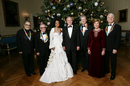 President George W. Bush and Mrs. Laura Bush stand in the Blue Room of the White House Sunday, Dec. 2, 2007, with the Kennedy Center Honorees for 2007, from left: Leon Fleisher, Martin Scorsese, Diana Ross, Brian Wilson and Steve Martin. White House photo by Eric Draper