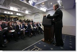 President George W. Bush speaks to the media Tuesday, Dec. 4, 2007, during a news conference in the James S. Brady Press Briefing Room at the White House.  White House photo by Joyce N. Boghosian