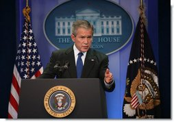 President George W. Bush responds to a question Tuesday, Dec. 4, 2007, during a morning news conference at the White House. White House photo by Joyce N. Boghosian