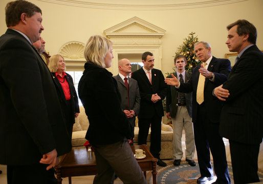 President George W. Bush meets with seven leaders of pro-democracy political parties and NGOs from Belarus, the last dictatorship in Europe, during their visit Thursday, Dec. 6, 2007, to the Oval Office. White House photo by Eric Draper