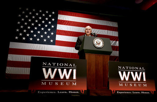 "Vice President Dick Cheney addresses members of the Veterans of Foreign Wars Friday, Dec. 7, 2007 at the National World War I Museum in Kansas City, Mo. ""This cause is bigger than the quarrels of party and the agendas of politicians."" said the Vice President during his remarks on the war on terror, adding, ""and if we in Washington, all of us, can only see our way to work together, then the outcome is not in doubt. We will press on in our mission, and we will achieve victory."" White House photo by David Bohrer"