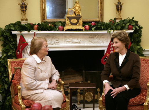Mrs. Laura Bush enjoys a visit Tuesday morning, Dec. 11, 2007, with Mrs. Clio Napolitano, wife of President Giorgio Napolitano of Italy, during their visit to the White House. White House photo by Shealah Craighead