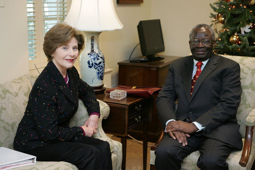 Mrs. Laura Bush meets with Ibrahim Gambari, the United Nation's Special Advisor on Burma, Monday, Dec. 17, 2007, at Mrs. Bush's East Wing office at the White House. White House photo by Joyce N. Boghosian