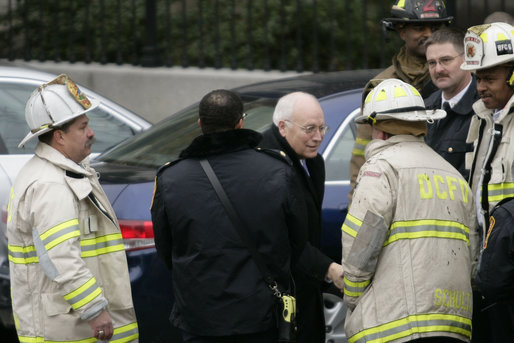 Vice President Dick Cheney shakes hands with Washington, D.C. firefighters as he and President George W. Bush thanked the men for their efforts Wednesday, Dec. 19, 2007, in battling a morning blaze in the Eisenhower Executive Office Building. White House photo by Shealah Craighead