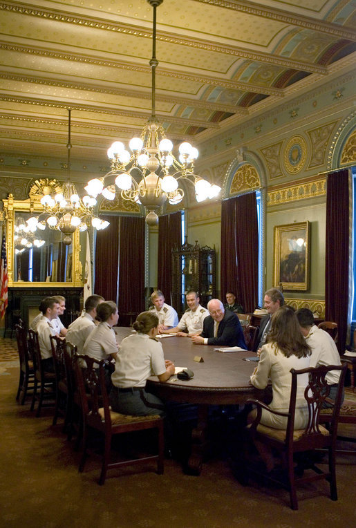 Vice President Dick Cheney is seen in this April 20, 2006 White House archived photo meeting with United States Military Academy Cadets in the Vice President's Ceremonial Office in the Eisenhower Executive Office Building. White House photo by David Bohrer