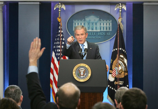 President George W. Bush calls on a reporter during a morning press conference Thursday, Dec. 20, 2007, in the James S. Brady Briefing Room of the White House. White House photo by Chris Greenberg