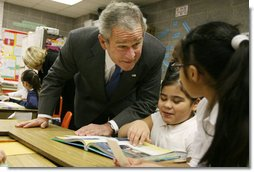 President George W. Bush visits with third grade students Monday, Jan. 7, 2008, at the Horace Greeley Elementary School in Chicago, where President Bush delivered a statement highlighting the successes of No Child Left Behind. White House photo by Joyce N. Boghosian