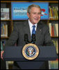 President George W. Bush addresses his remarks in support of No Child Left Behind Monday, Jan. 7, 2008, at the Horace Greeley Elementary School in Chicago, where President Bush urged Congress to reauthorize No Child Left Behind. White House photo by Joyce N. Boghosian