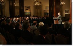 President George W. Bush addresses a luncheon with business and community leaders on the state of the economy Monday, Jan. 7, 2008, at the Union League Club of Chicago. White House photo by Joyce N. Boghosian