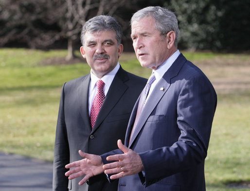 "President George W Bush welcomes President Abdullah Gul to the White House Tuesday, Jan. 8, 2008, as they meet with the press during a photo opportunity. Said the President, ""Turkey is a strategic partner of the United States. Relations between the United States and Turkey are important for our country. And we have worked hard to make them strong."" White House photo by Eric Draper"