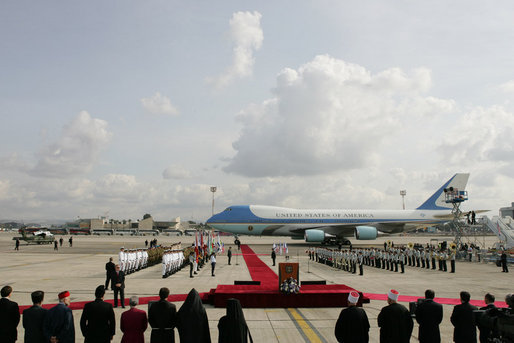 Air Force One arrives at the red carpet arrival ceremonies Wednesday at Ben Gurion International Airport in Tel Aviv, where President George W. Bush began the first of his eight-day, Mideast visit. White House photo by Chris Greenberg