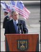 "President George W. Bush speaks during the arrival ceremonies Wednesday, Jan. 9, 2008, at Ben Gurion International Airport in Tel Aviv. Said the President, ""The United States and Israel are strong allies. The source of that strength is a shared belief in the power of human freedom."" White House photo by Chris Greenberg"