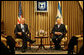 President George W. Bush and President Shimon Peres of Israel pose for the cameras before their meeting Wednesday, Jan. 9, 2008, at President Peres' Jerusalem residence. White House photo by Eric Draper