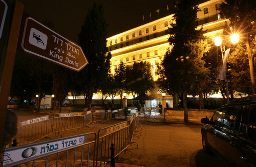 The King David-Jerusalem is lit up Wednesday, Jan. 9, 2008, after the arrival earlier in the day of President George W. Bush who is spending two days in Israel visiting President Shimon Peres and Prime Minister Ehud Olmert. White House photo by Chris Greenberg