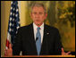 President George W. Bush speaks during joint press availability Wednesday, Jan. 9, 2008, at the Jerusalem office of Prime Minister Ehud Olmert of Israel. White House photo by Chris Greenberg